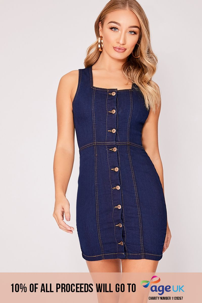 HADARH INDIGO DENIM BUTTON DOWN BODYCON DRESS