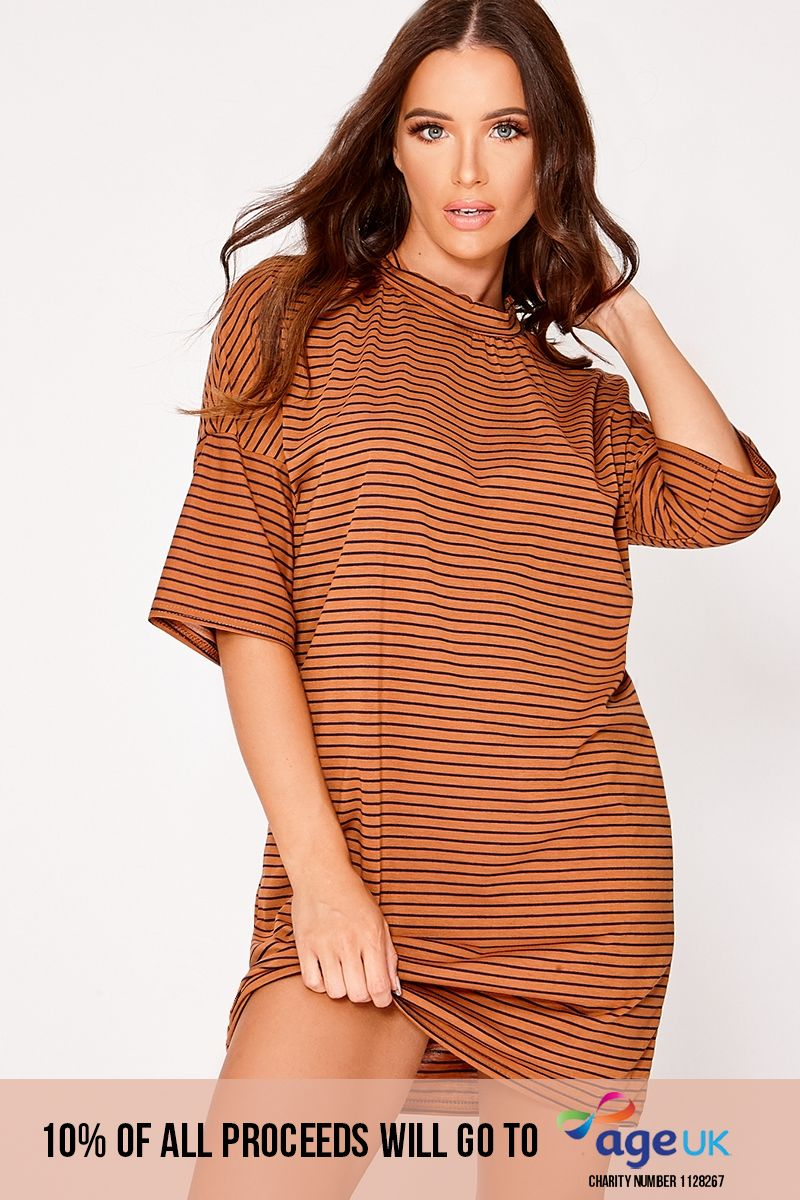rust stripe oversized t shirt dress