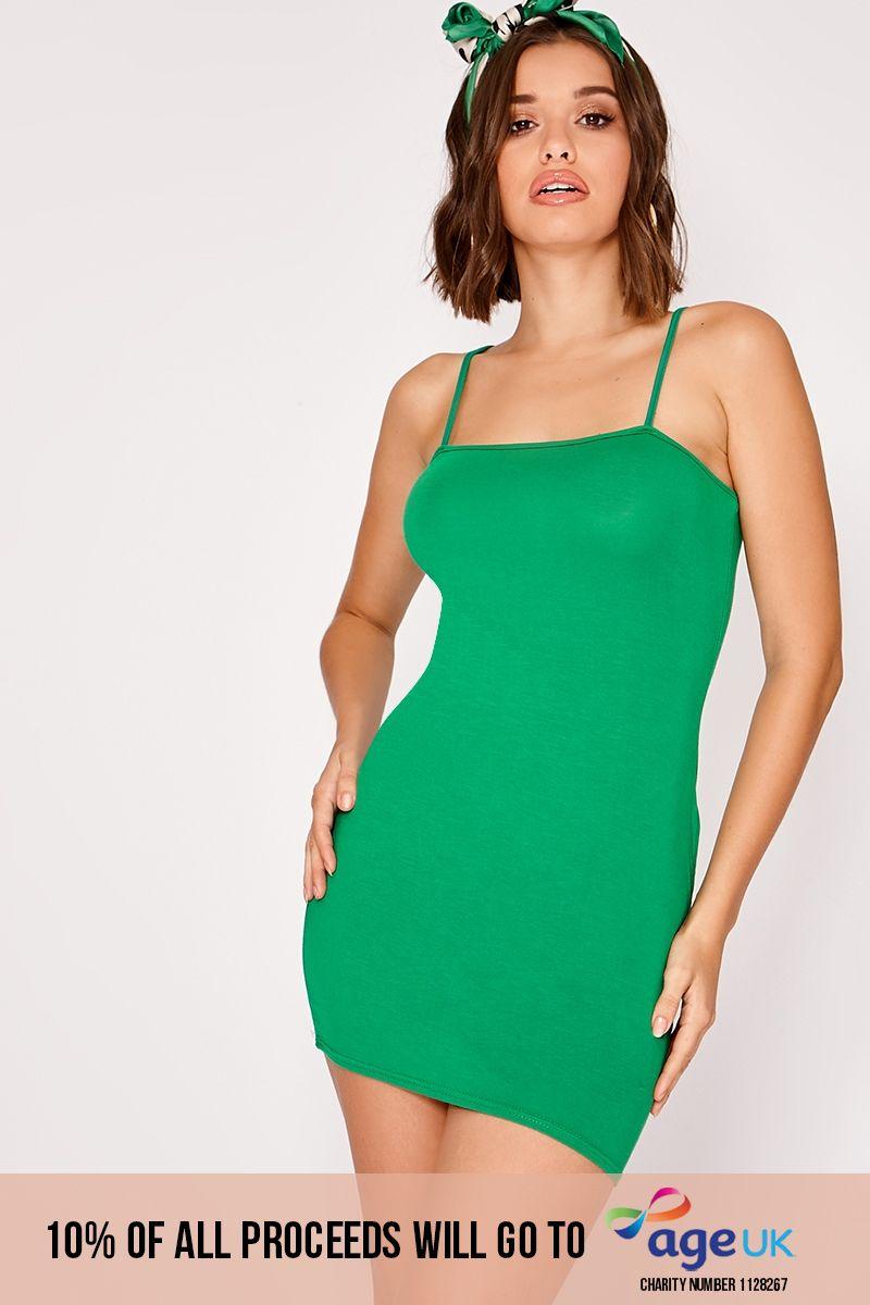 JASMINA GREEN STRAPPY SQUARE NECK MINI DRESS