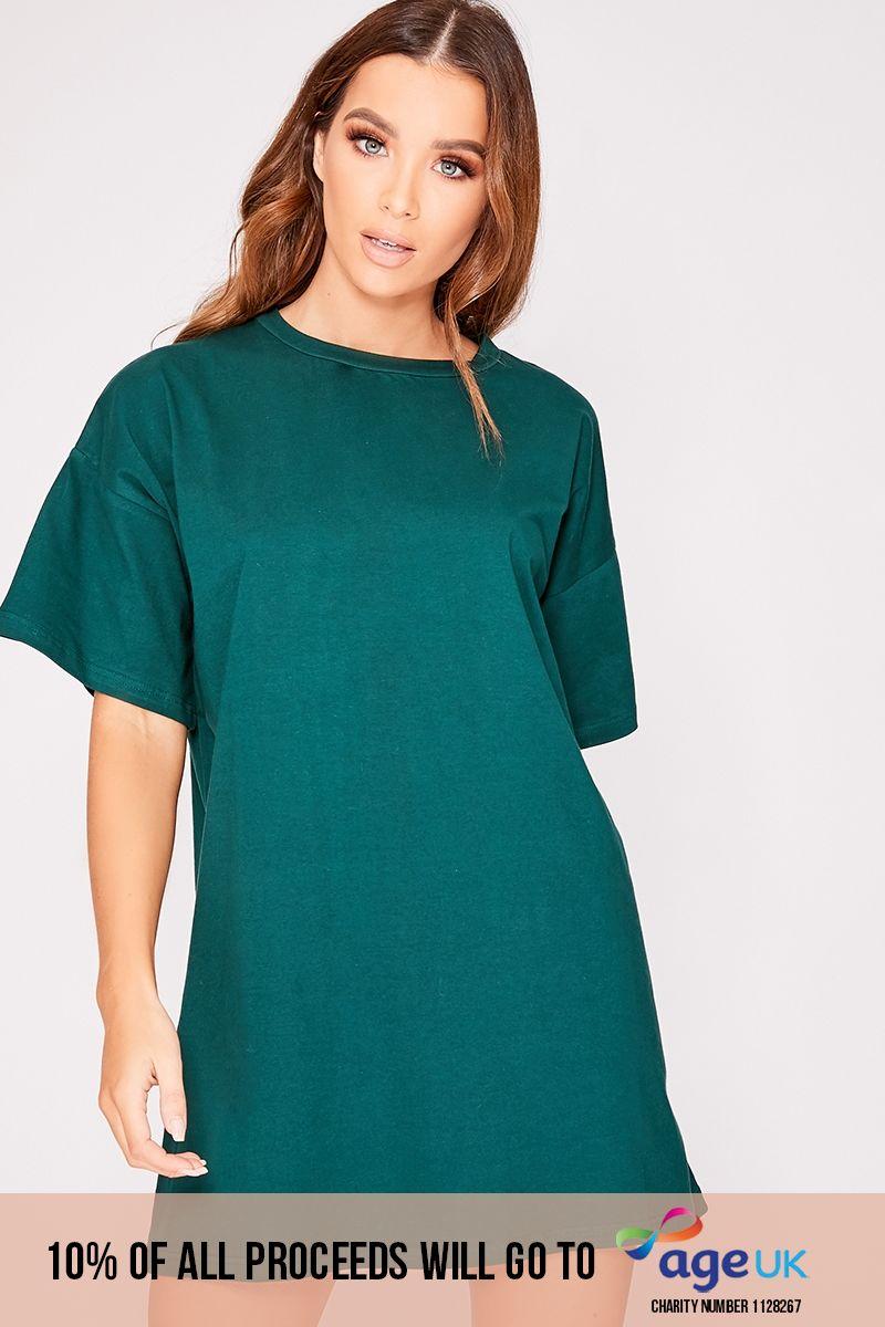 forest green basic t shirt dress