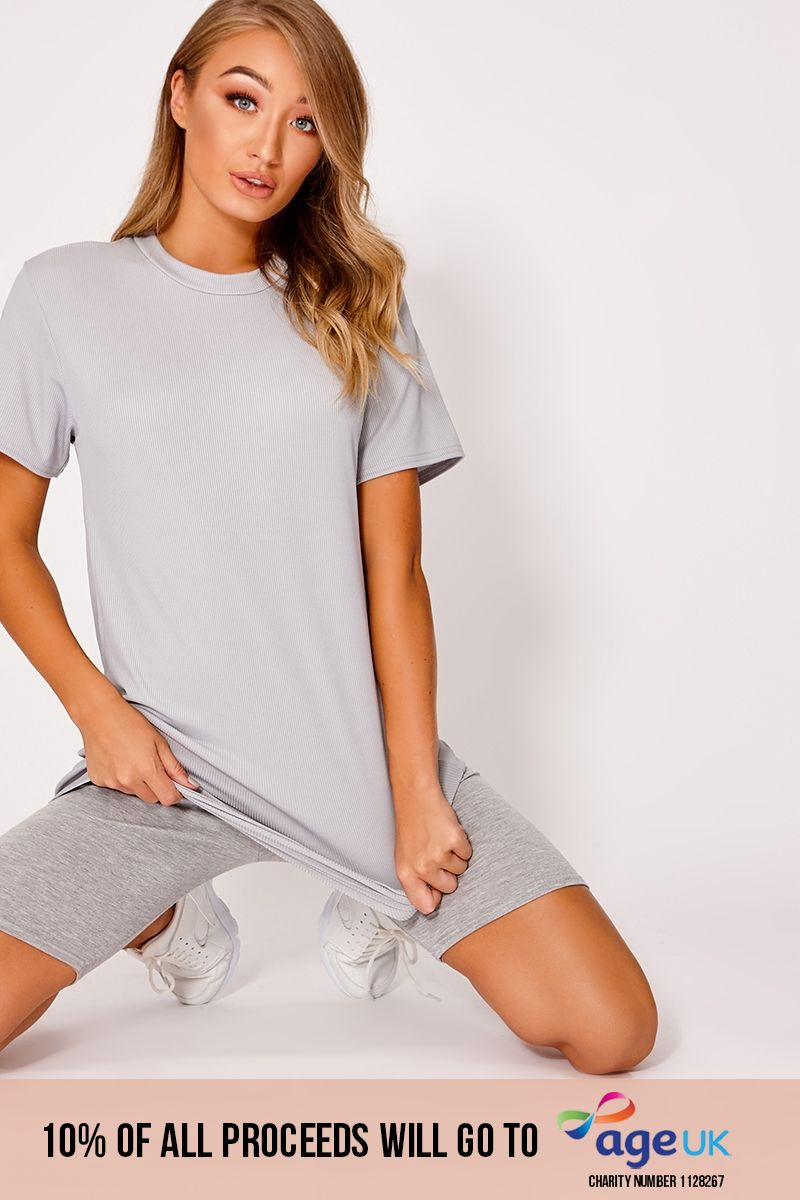 DANEU GREY RIBBED T SHIRT DRESS