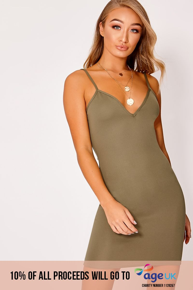 DAMICAH KHAKI SCUBA PLUNGE BODYCON DRESS