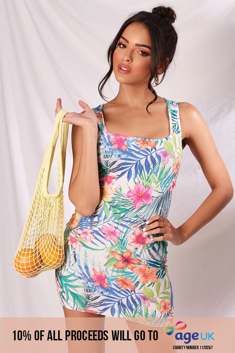 LEEANE TROPICAL PRINT SQUARE NECK MINI DRESS