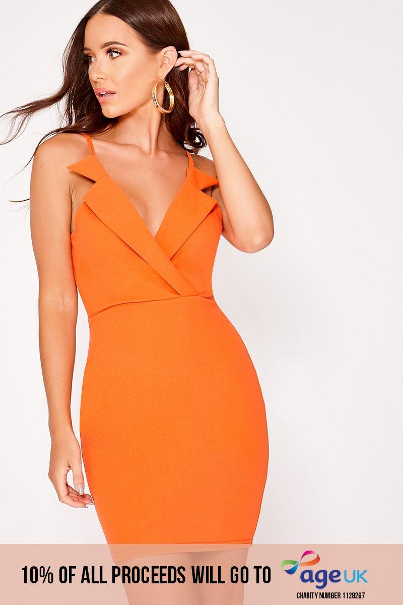 orange collared sleeveless dress