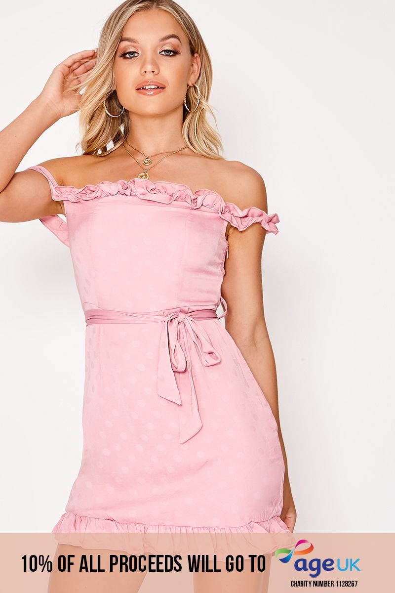 pink polka dot bardot tie waist dress