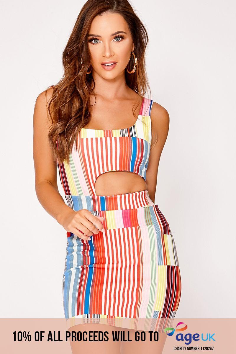 pink stripe cut out mini dress