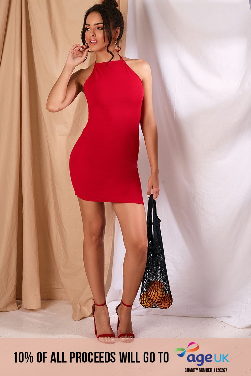 red crepe 90's neck mini dress
