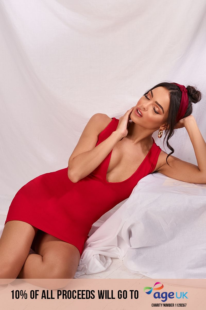red plunge mini dress