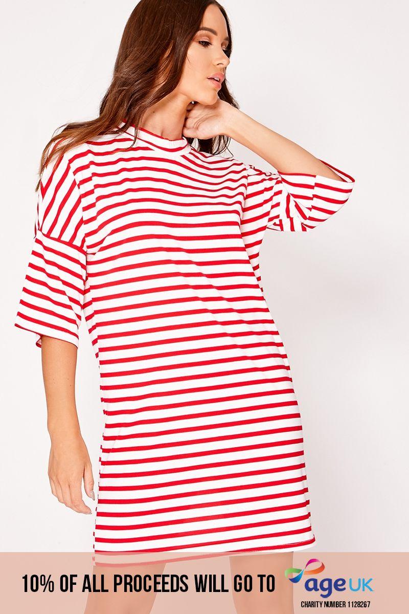 red striped oversized t shirt dress