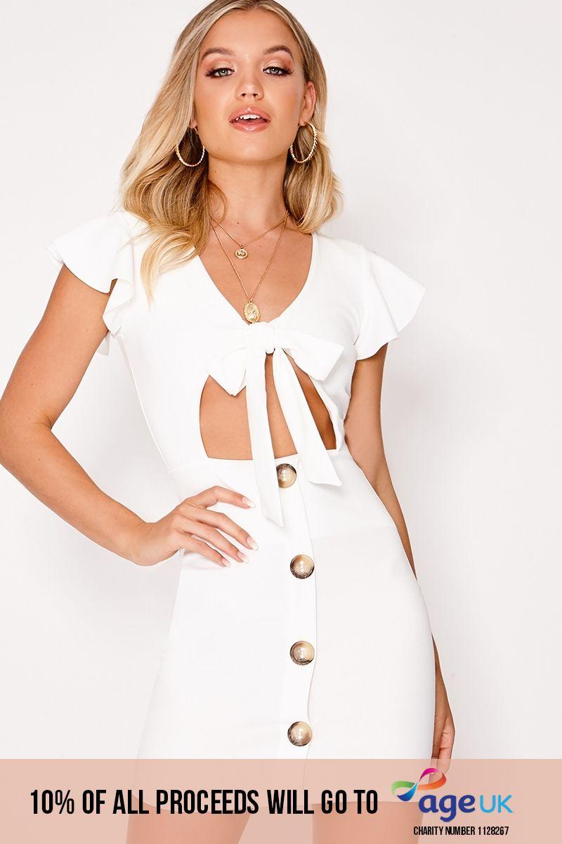 LELE WHITE TIE FRONT BUTTON DOWN DRESS
