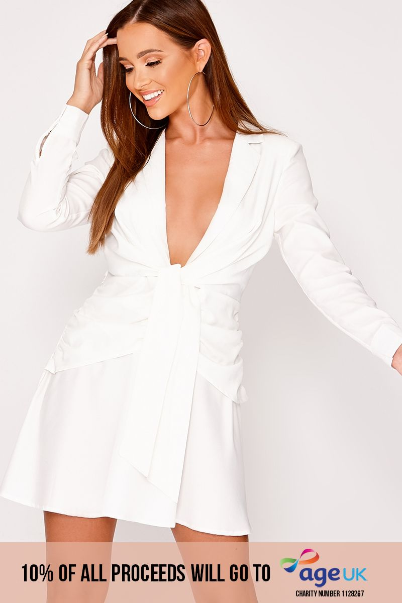 BEAU WHITE PLUNGE WRAP TIE FRONT SHIRT DRESS