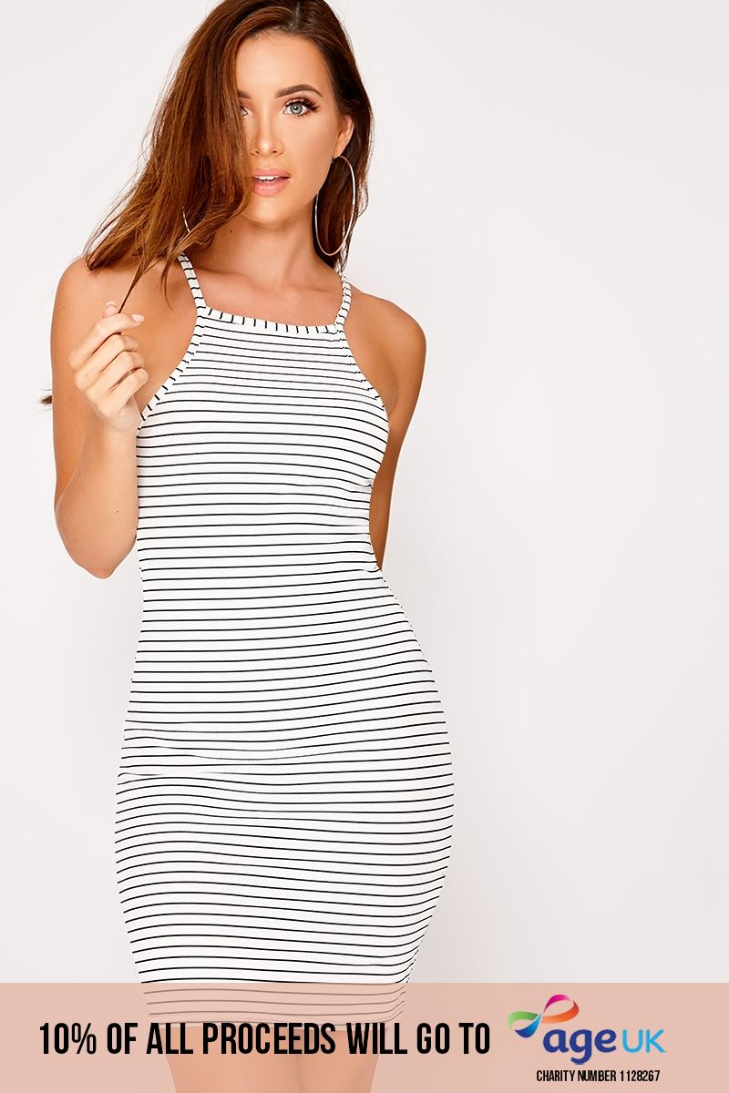 white striped rib high neck dress