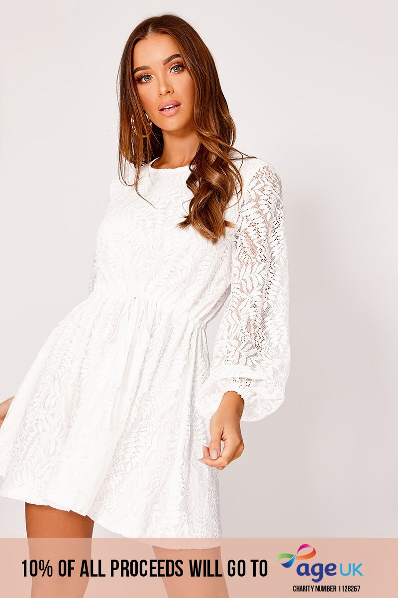 EMANIE WHITE LACE BALLOON SLEEVE SKATER DRESS
