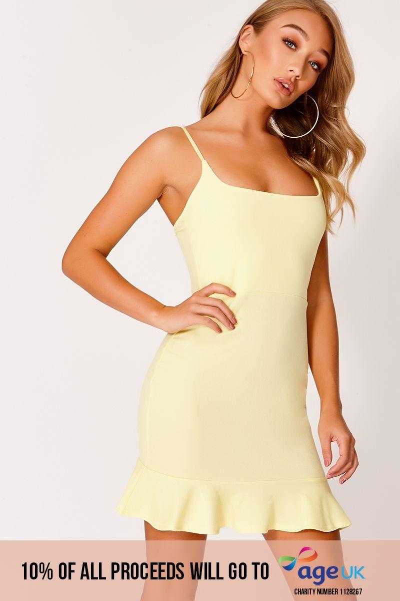 lemon frill hem bodycon dress