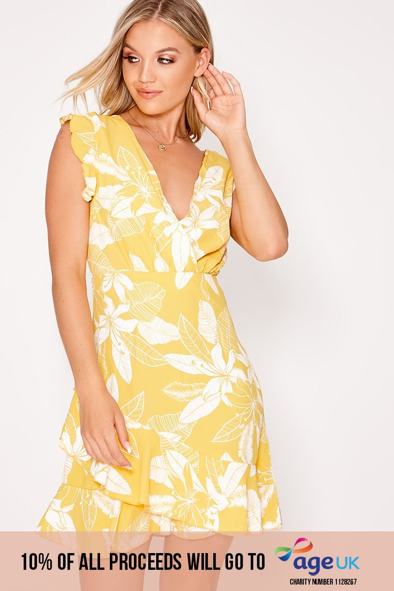 yellow floral tie back wrap frill dress