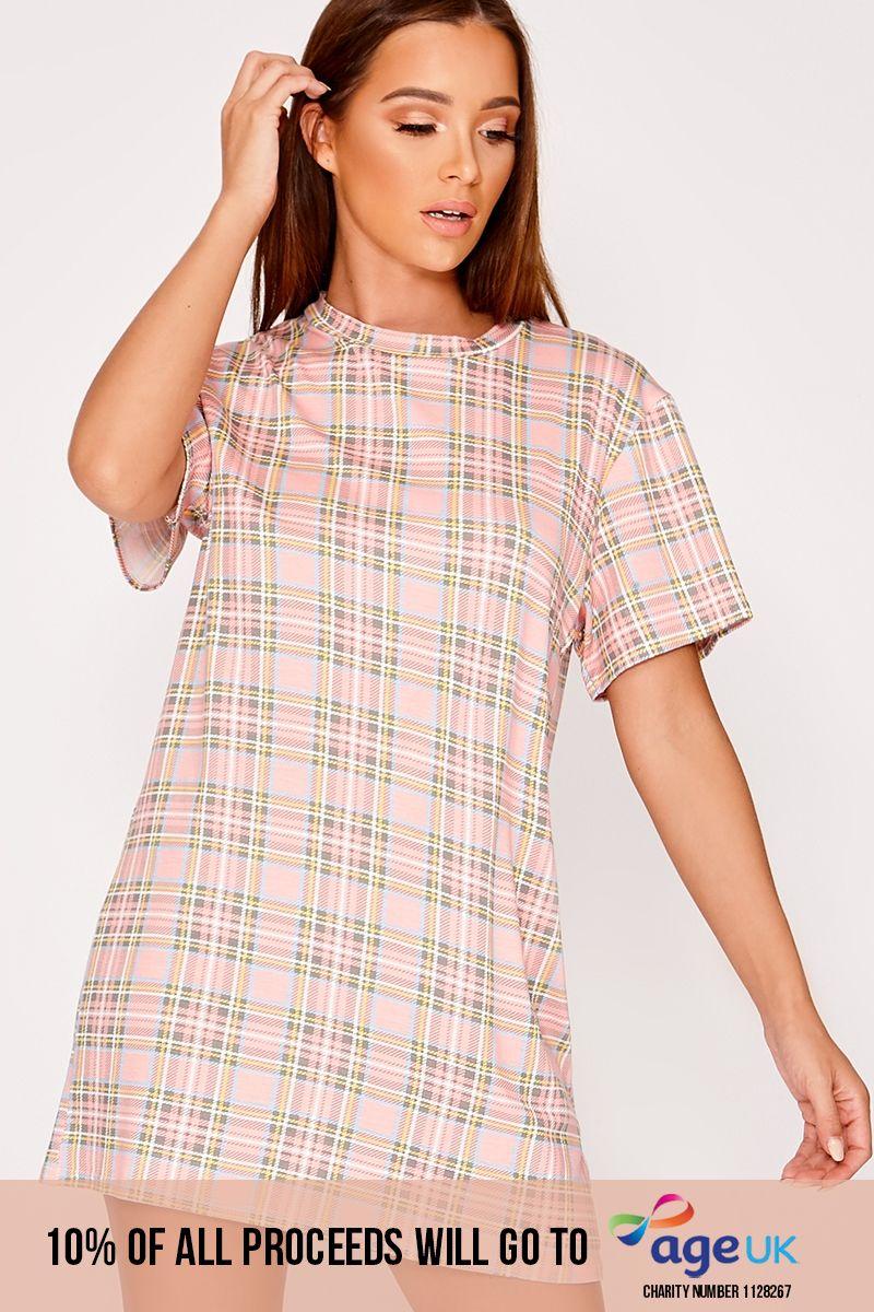 pink checked t shirt dress