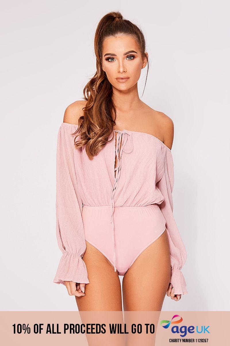 dusty pink cheesecloth split sleeve bardot bodysuit