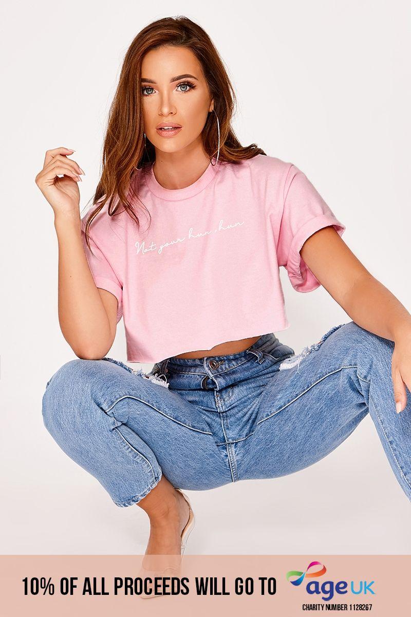 your hun, hun pink cropped slogan t shirt