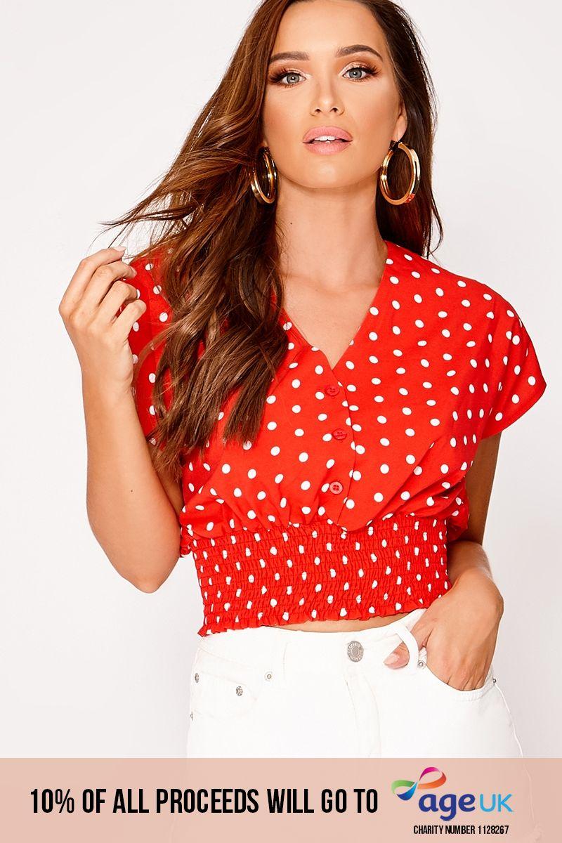 red polka dot shirred waist crop top