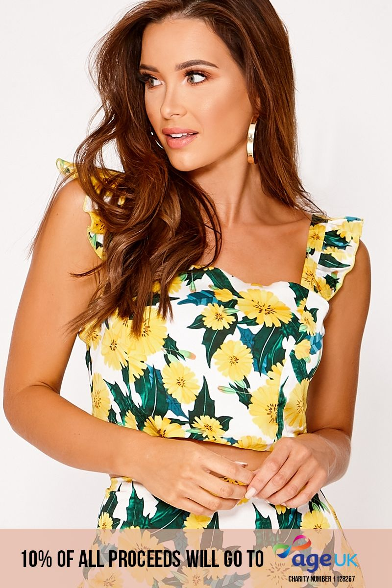 NICKOLE WHITE FLORAL FRILL SLEEVE CROP TOP