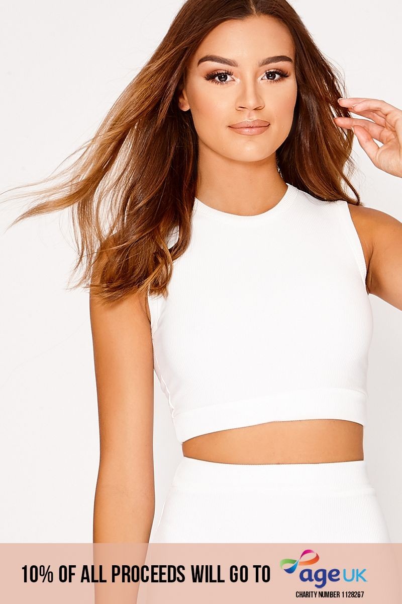 LOVIA WHITE RIBBED CROP TOP