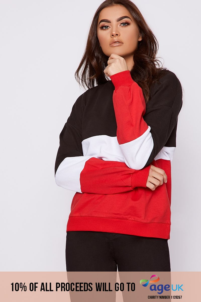 colour black and red block balloon sleeve sweater