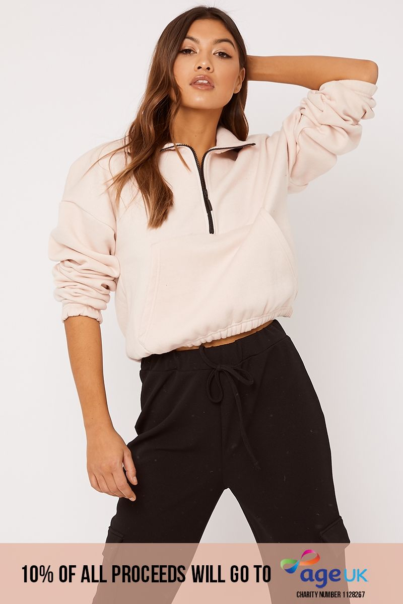 blush high neck zip detail lounge sweat
