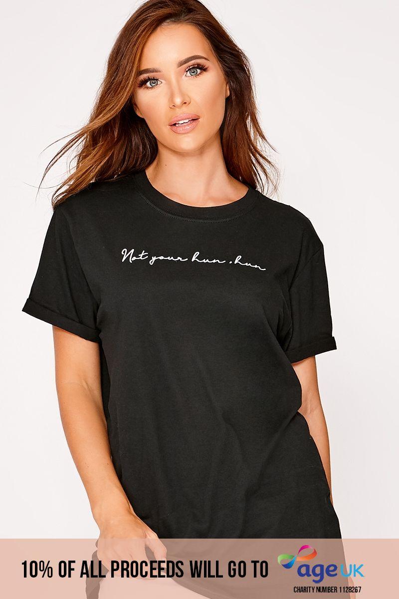 your hun, hun black oversized slogan t shirt