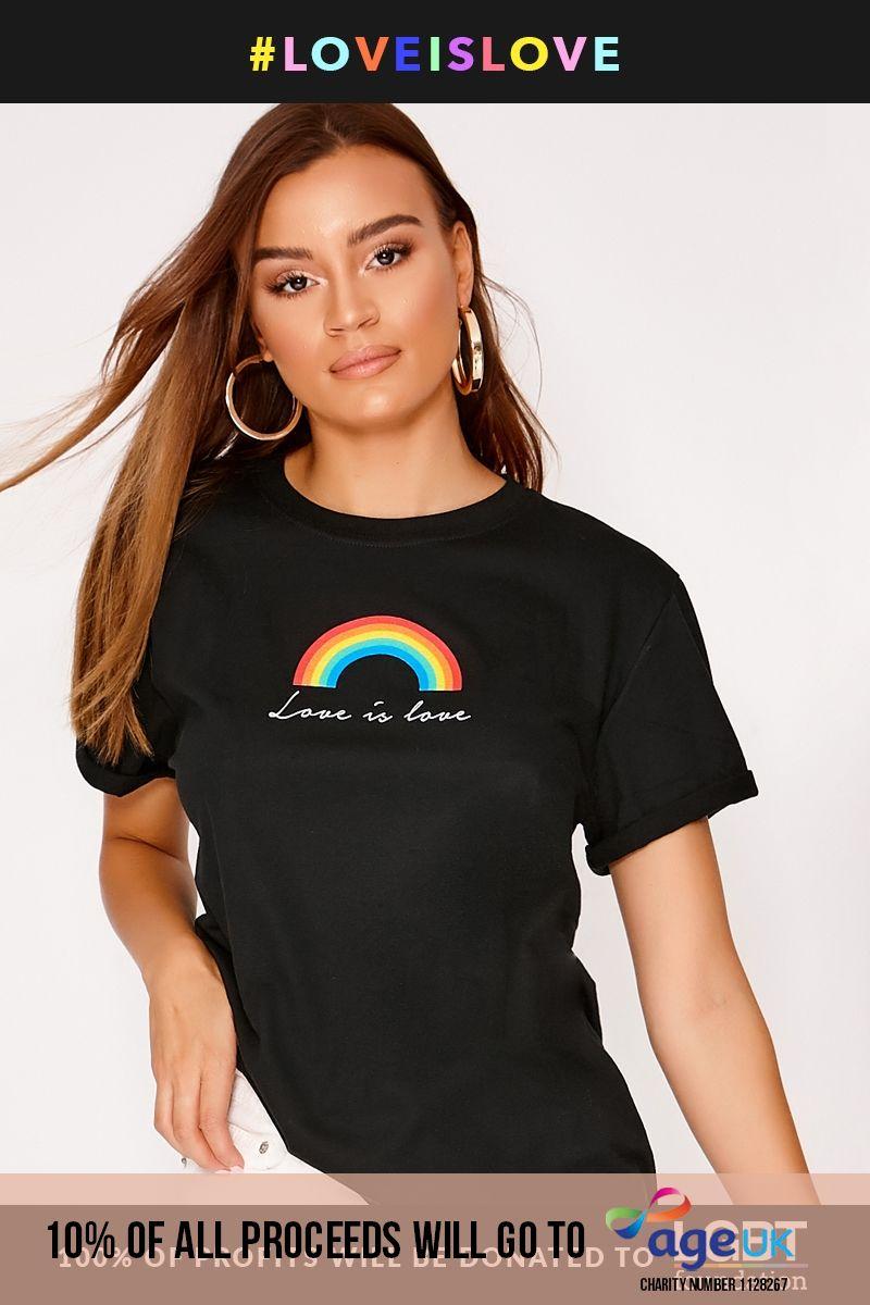 PRIDE RAINBOW BLACK T SHIRT