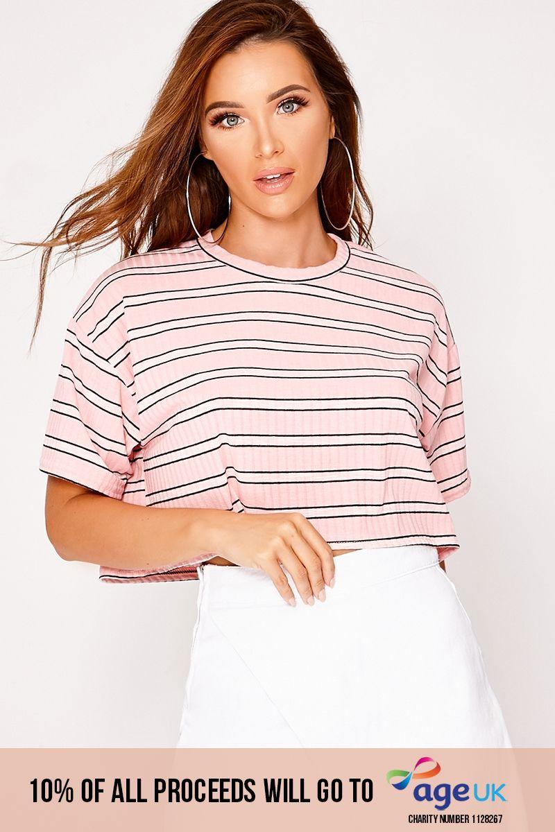 pink stripe cropped t-shirt