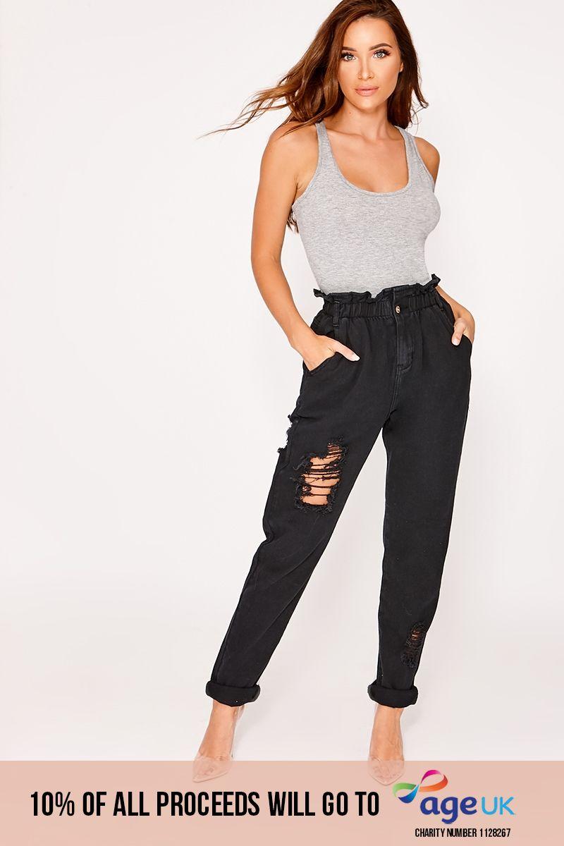 black denim paperbag distressed mom jeans