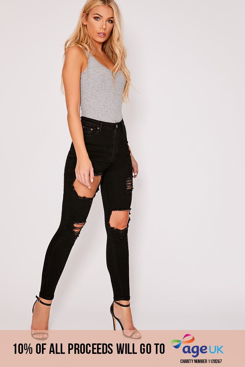 WOMENS LADIES GIRLS HIGH WAISTED EXTREME RIPPED BLACK SKINNY JEANS SIZE 6 TO 24