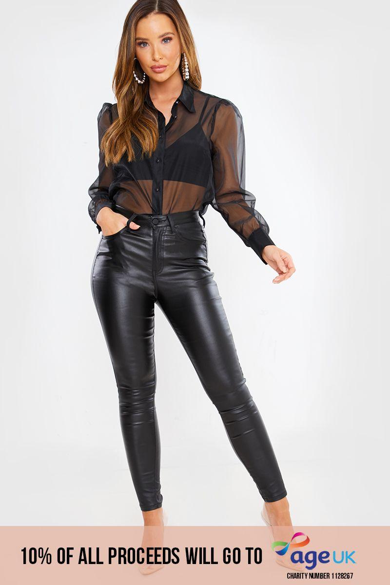 black coated skinny jeans