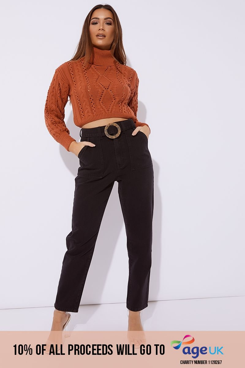 black denim horn buckle detail mom jeans