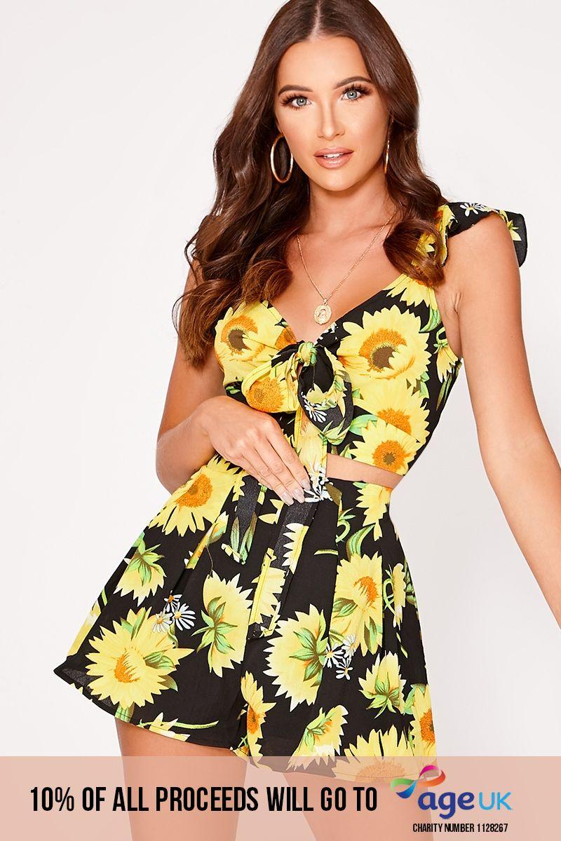 black sunflower print shorts