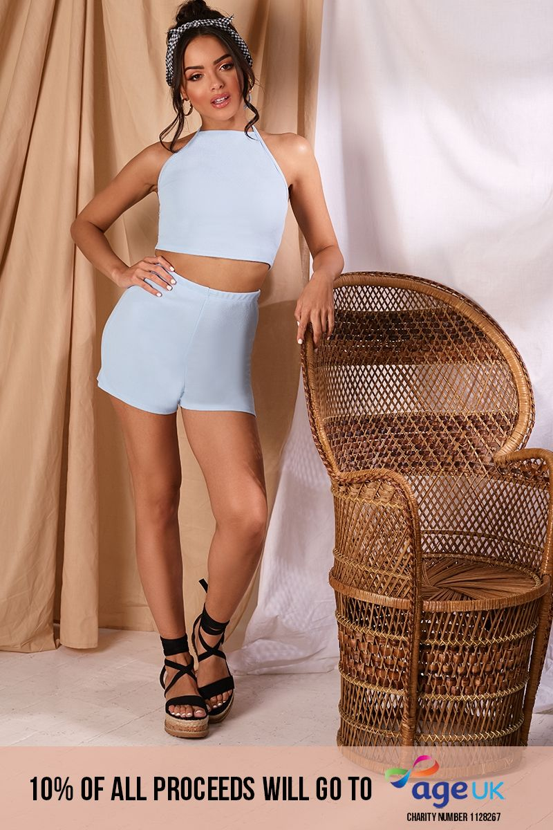 baby blue crepe shorts