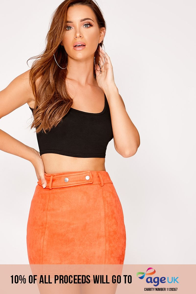 orange faux suede mini skirt