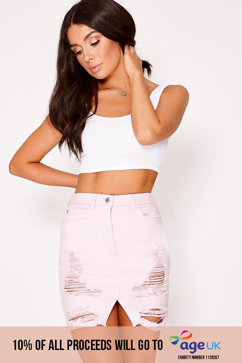 lilac distressed frayed hem denim mini skirt