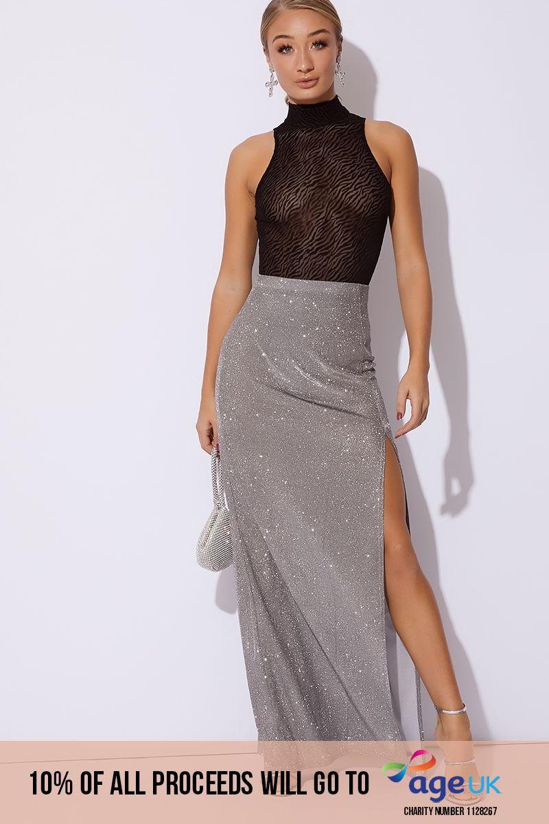 silver metallic thigh high maxi skirt