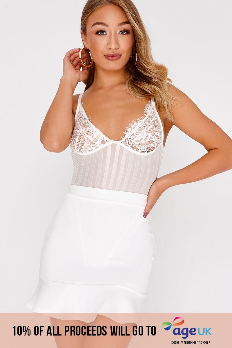 white frill hem mini skirt