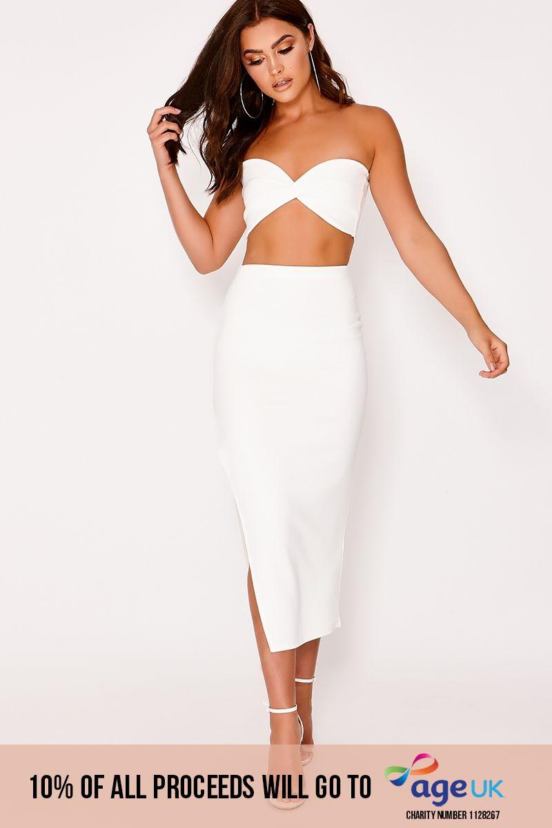 white scuba side split midi skirt