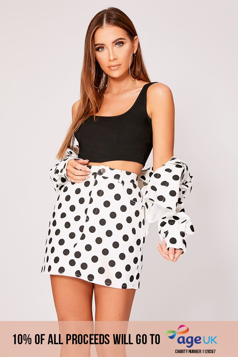 white polka dot high waisted denim mini skirt