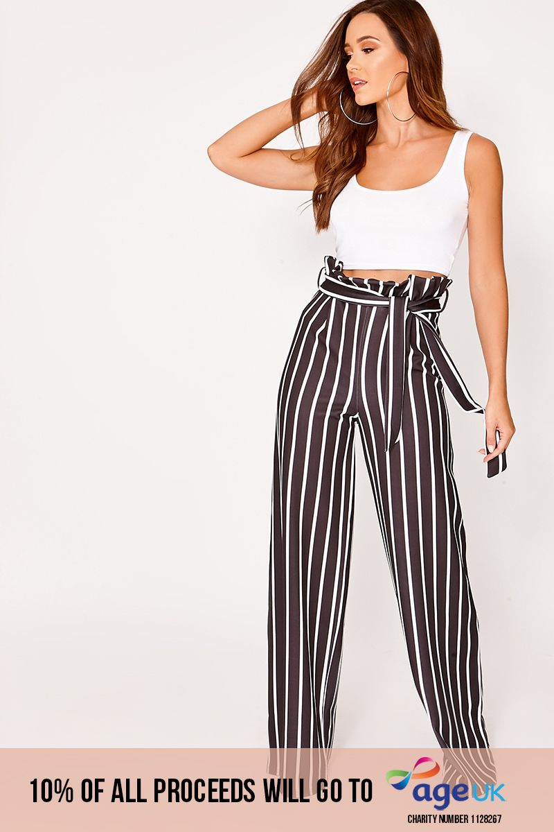 black striped wide leg paperbag trousers