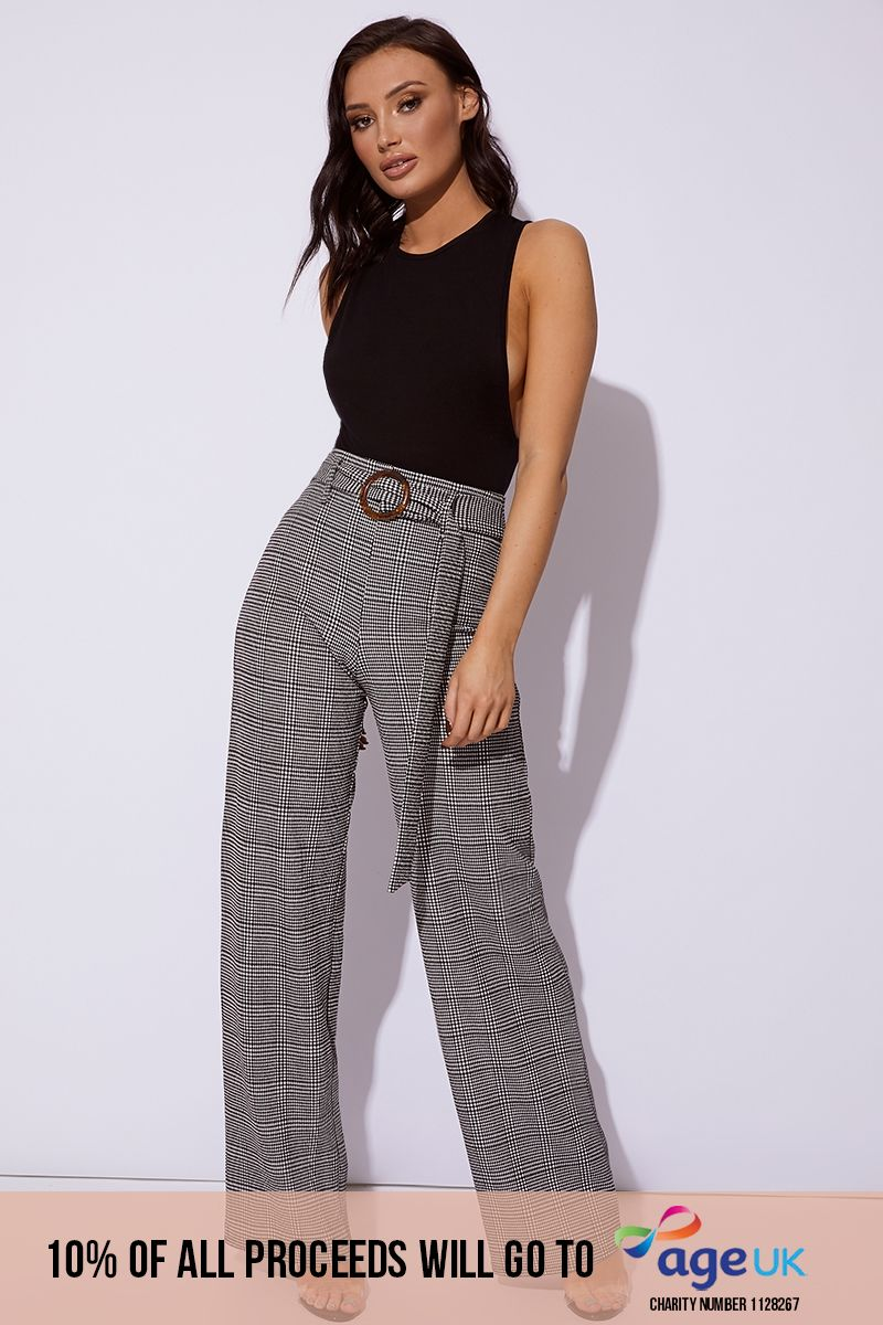 black houndstooth wide leg trousers