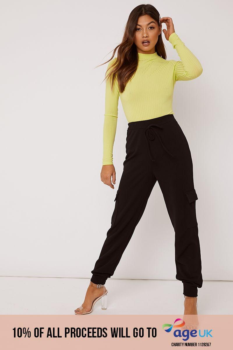 black crepe cargo trousers