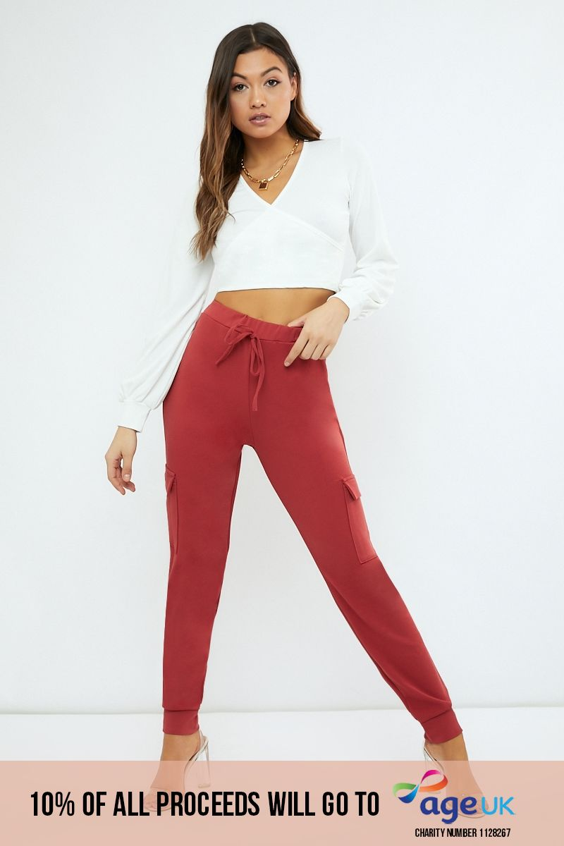 rust crepe cargo lounge trousers
