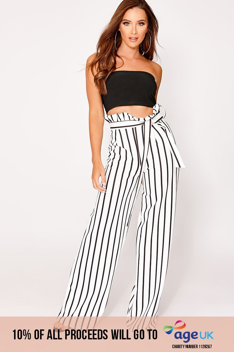 white striped wide leg paperbag trousers