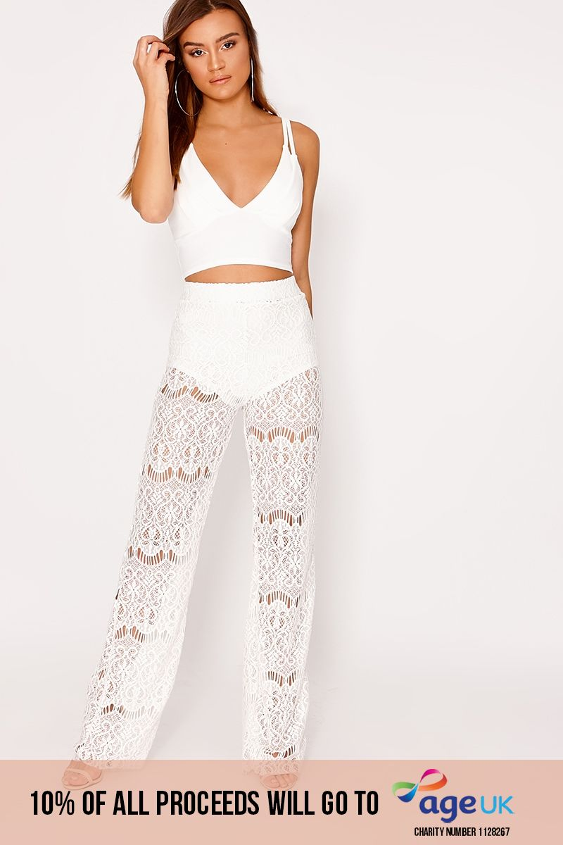 white lace flare trousers