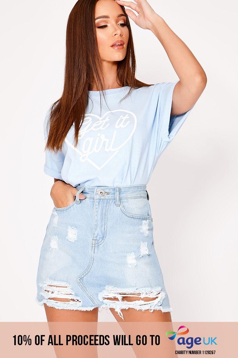 light blue distressed ripped denim mini skirt
