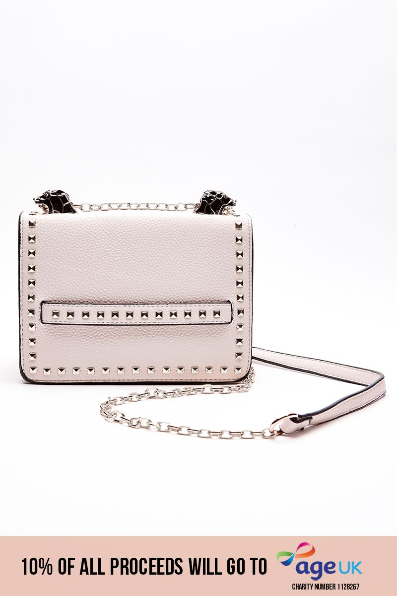 NUDE FAUX LEATHER STUDDED HANDBAG
